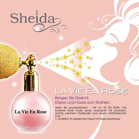 SHEIDA  Haar Kult Broschüre Gold Puder La vie en Rose